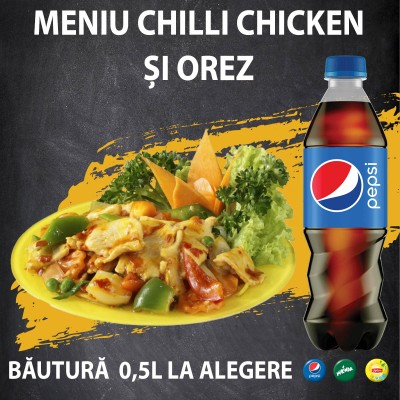 Meniu Chilli Chicken, orez, bautura 0,5L